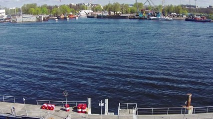 Aerial View to Dock for Ships, sunny day
