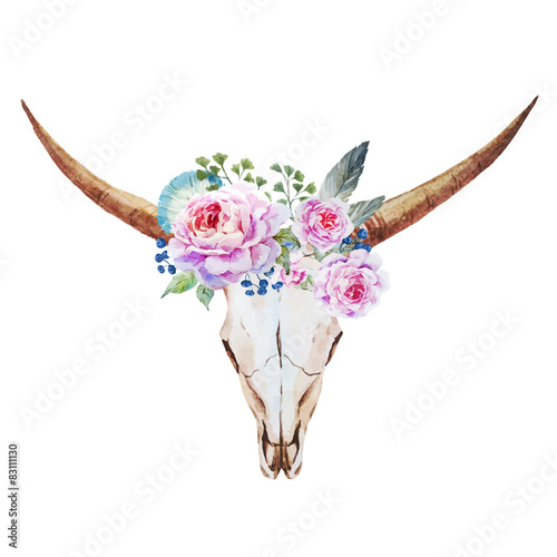 Bull skull watercolor - 83111130