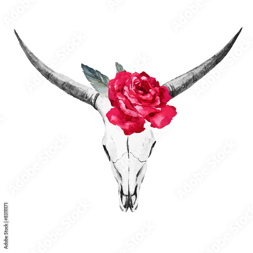 Bull skull watercolor - 83111171