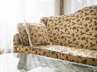 Sofa with pillows, Classic style with floral fabric