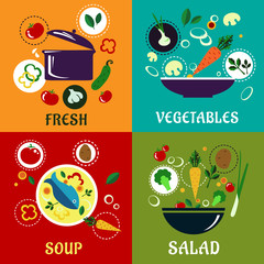 Healthy cooking concept with vegetables and ingredients