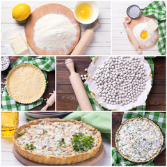 Collage from photos of  tart with cottage cheese and herbs