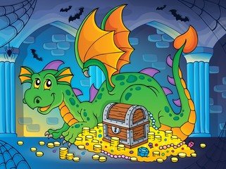 Dragon with treasure theme image 2