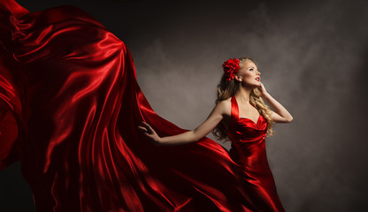 Model in Red Dress, Glamour Woman Posing in Flying Long Silk Clo