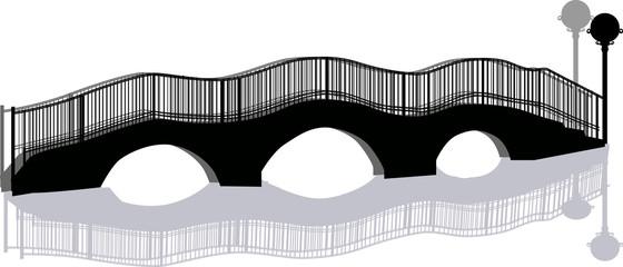 black three arch bridge isolated on white