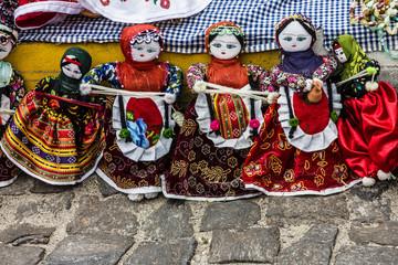 Traditional handmade dolls in Turkish folk costumes in Turkey.