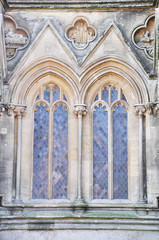 Gothic window closeup, Wells, Somerset, England