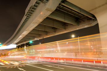 江東区有明の高架下道路夜景