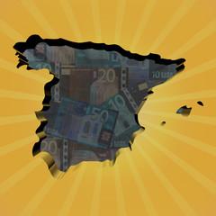 Spain map on euros sunburst illustration