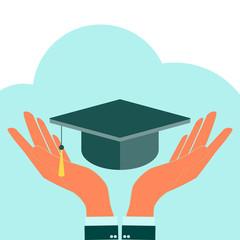 Square academic cap in hands. vector icon. laurel wreath