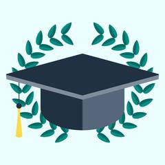 Square academic cap in laurel wreath. vector icon. laurel wreath