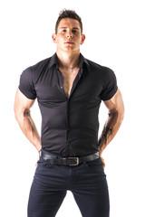 Elegant and stylish young man on light background