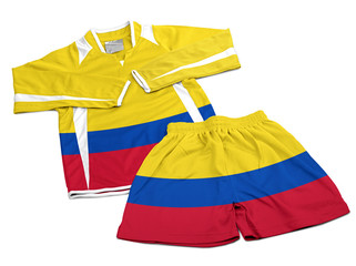 Flag from Colombia on nylon soccer sportswear clothes