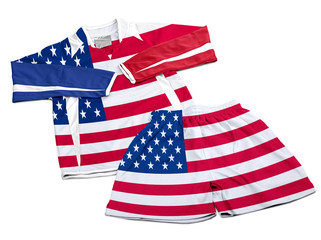 Flag from USA on nylon soccer sportswear clothes