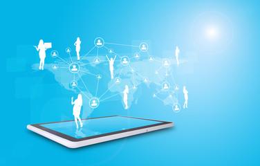 Set of businesswomen silhouette above tablet