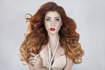 Beautiful young, red-haired girl portrait