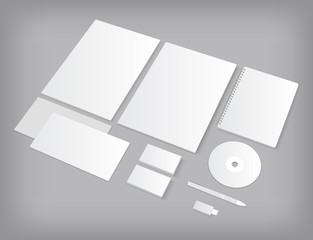 Set of CI templates mock-up with business cards and notebook.