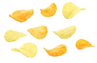 Potato chip isolated on white