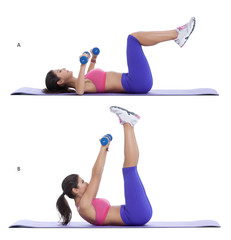 Arm pull over straight-leg crunch