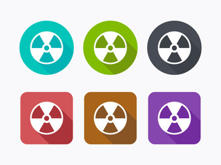 Radioactive icons in flat design. Vector illustration