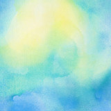 Fototapety Abstract painted  blue and yellow watercolor background