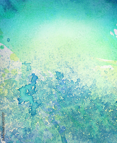 Abstract painted  blue watercolor leak, splash background - 83123577