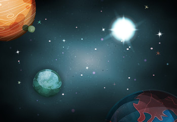 Scifi Space Background For Ui Game with planets and stars
