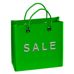 Green shopping bag with word sale