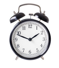 Classic alarm clock isolated on white with clipping path