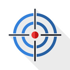 Target icon with long shadow on white background