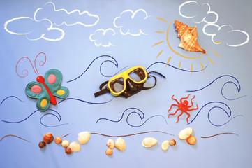 Spiaggia, mare, sole, farfalla e occhiali
