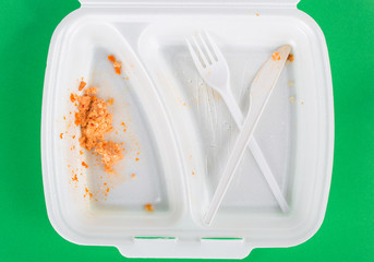 Dirty styrofoam  food container  plastic fork and knife