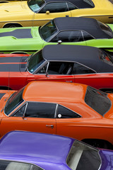 Vintage Muscle Cars High Angle View