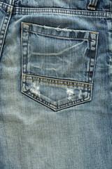 back pocket of fashion blue jeans