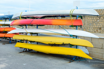 Kayaks stacked