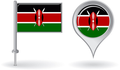 Kenyan pin icon and map pointer flag. Vector