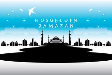 Vektörel Camii Hoşgeldin Ramazan