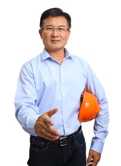 Portrait of an handsome engineer giving the hand shake isolated
