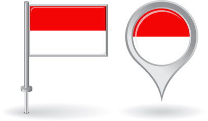 Indonesian pin icon and map pointer flag. Vector