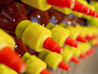 rows of bottled sauce