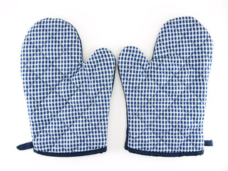 blue-white Oven gloves isolated on white background