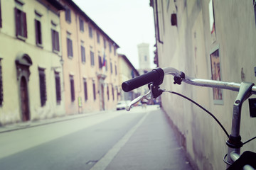 bicycle handlebar in a Bologna street