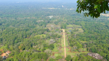 Sigiriya garden in Sri Lanka - view from top of Lion rock