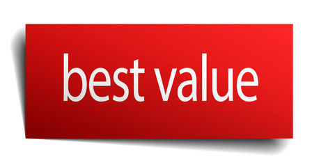best value red paper sign isolated on white