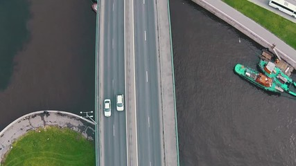Flying Above Highway with Traffic Cars, aerial view