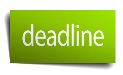 deadline green paper sign on white background