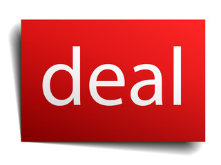 deal red square isolated paper sign on white