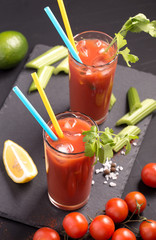 Two glasses of Bloody Mary above