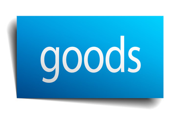 goods blue paper sign on white background