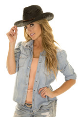 cowgirl with long blond hair tip black hat